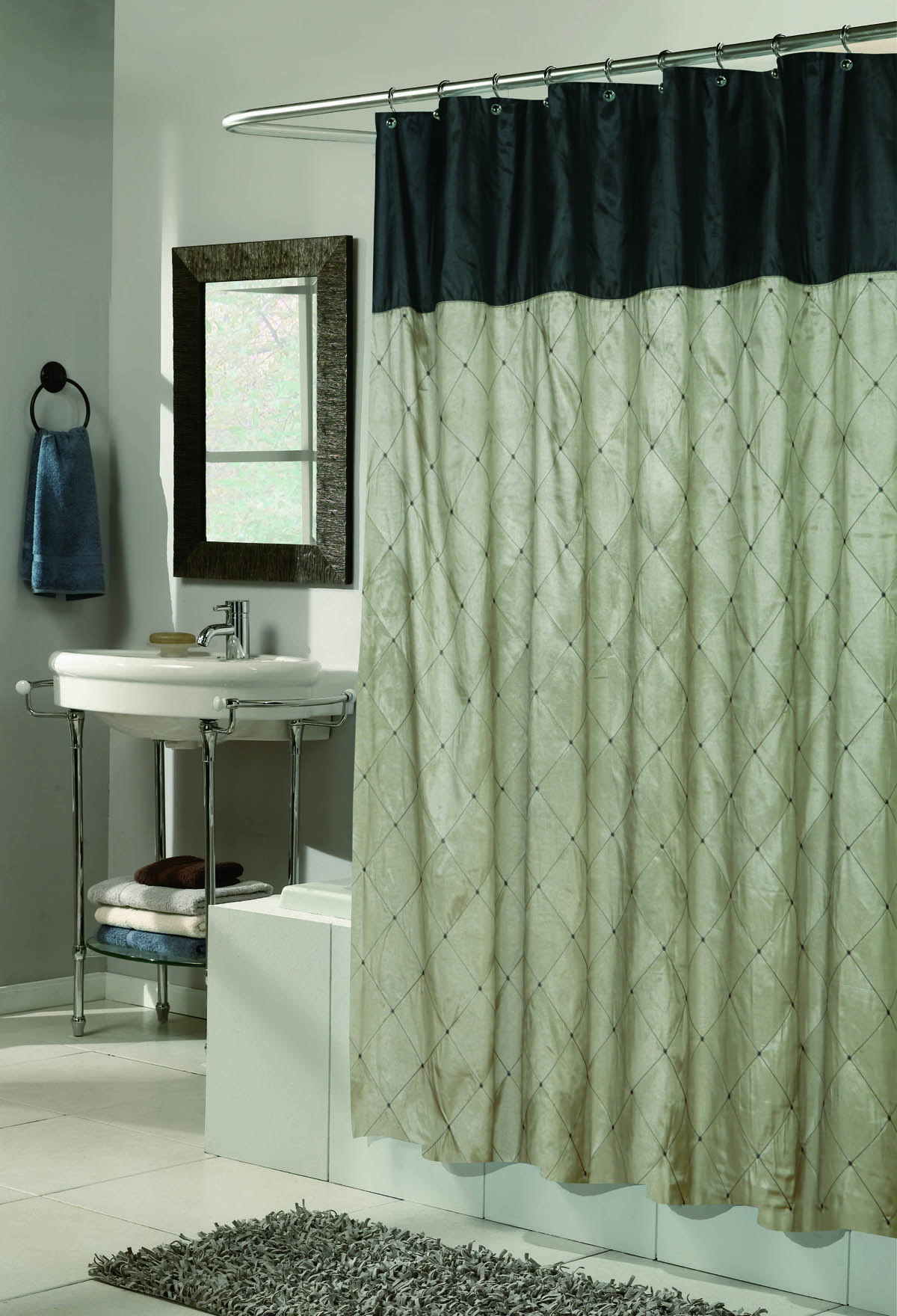 Blue Balmoral Embroidered Shower Curtain Gold