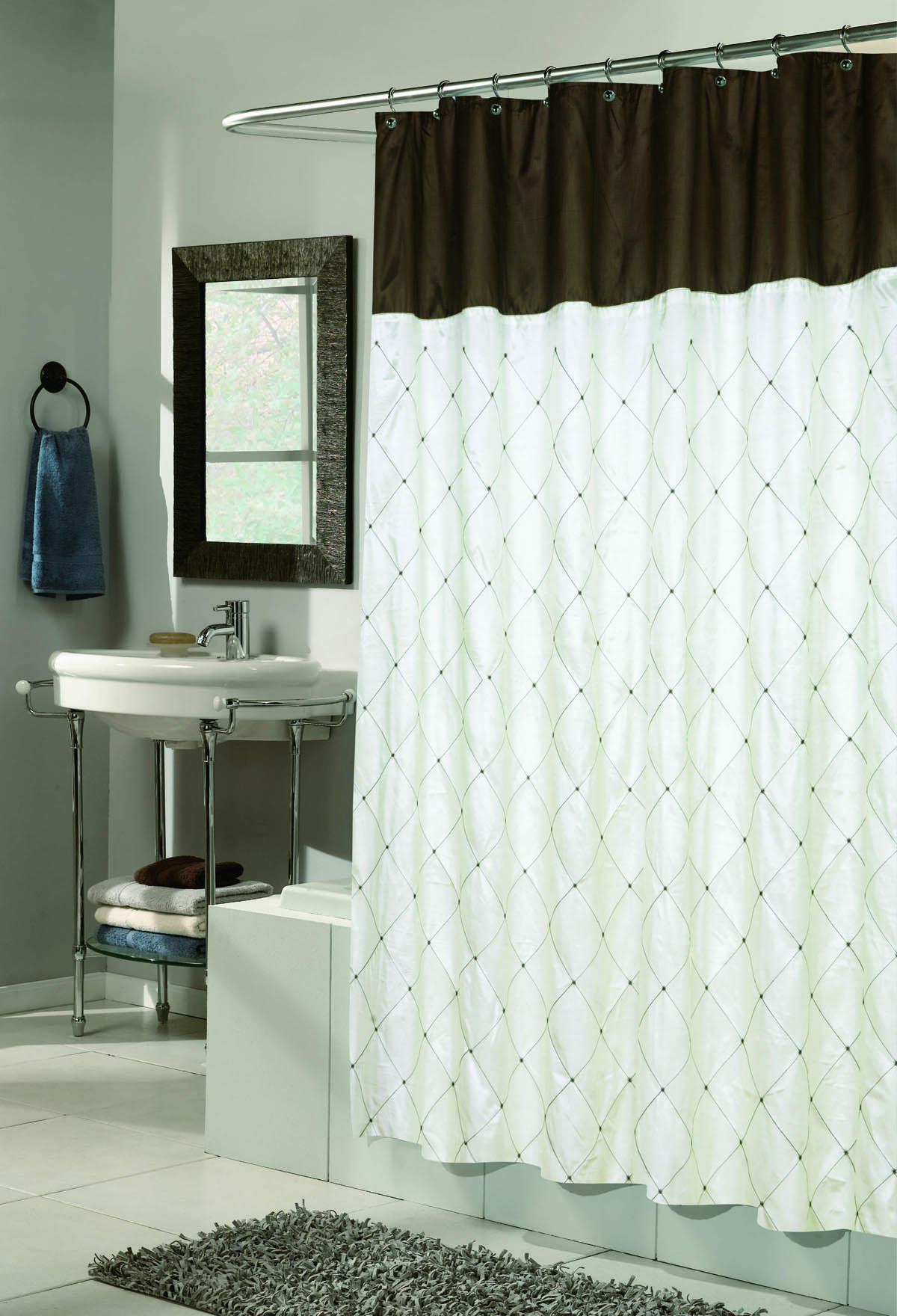 Carnation Home Fashions, Inc - Diamond Embroidered Shower Curtains