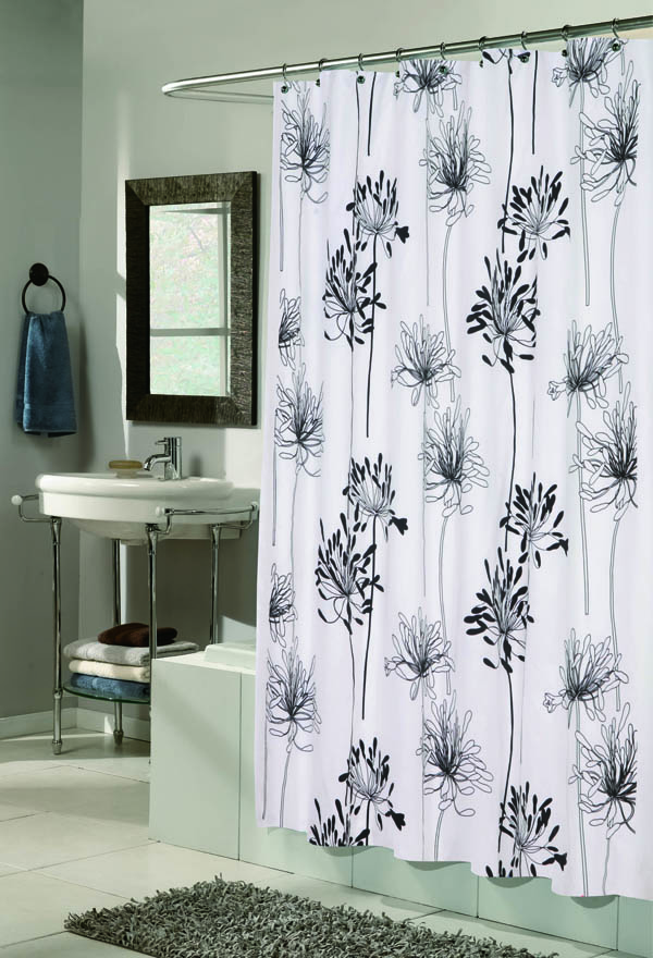 Flocked Shower Curtain Cologne White Black