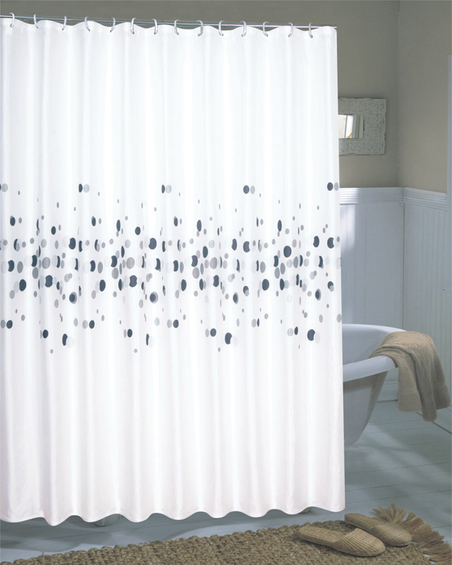 Dots Extra Wide Fabric Shower Curtain 108 X 72 Long