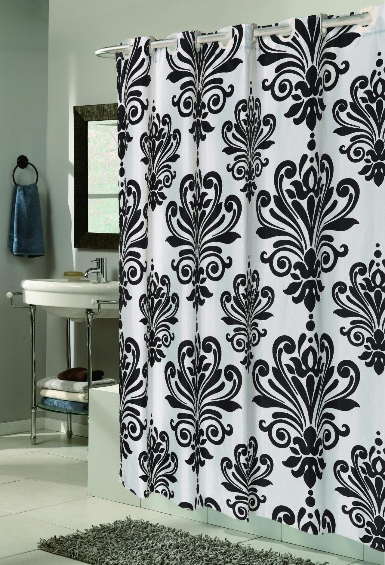 Fabric Shower Curtain Beacon Hill Black White EZ On No Hooks Needed