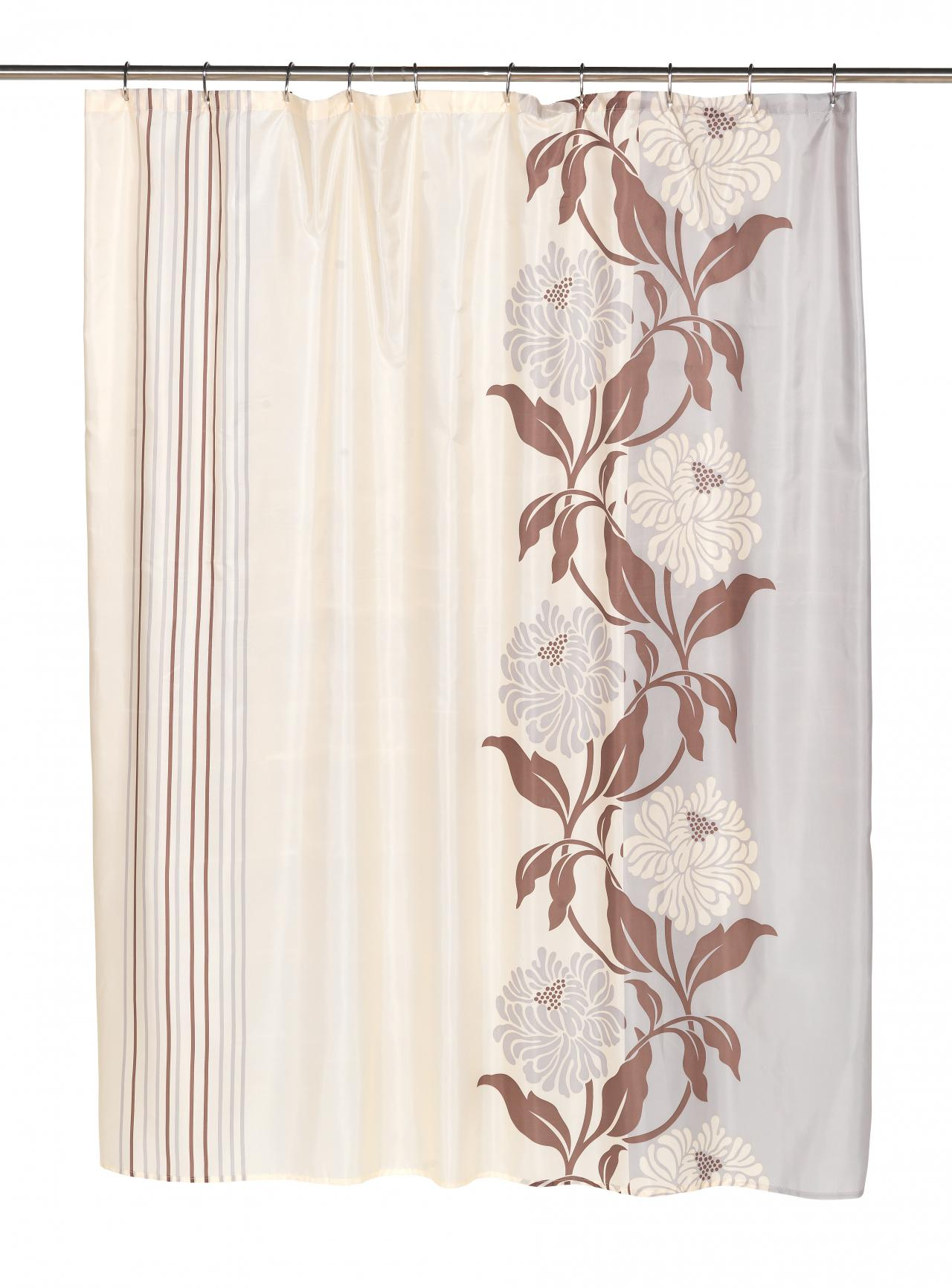 Chelsea Brown Ivory Fabric Shower Curtain 70x72
