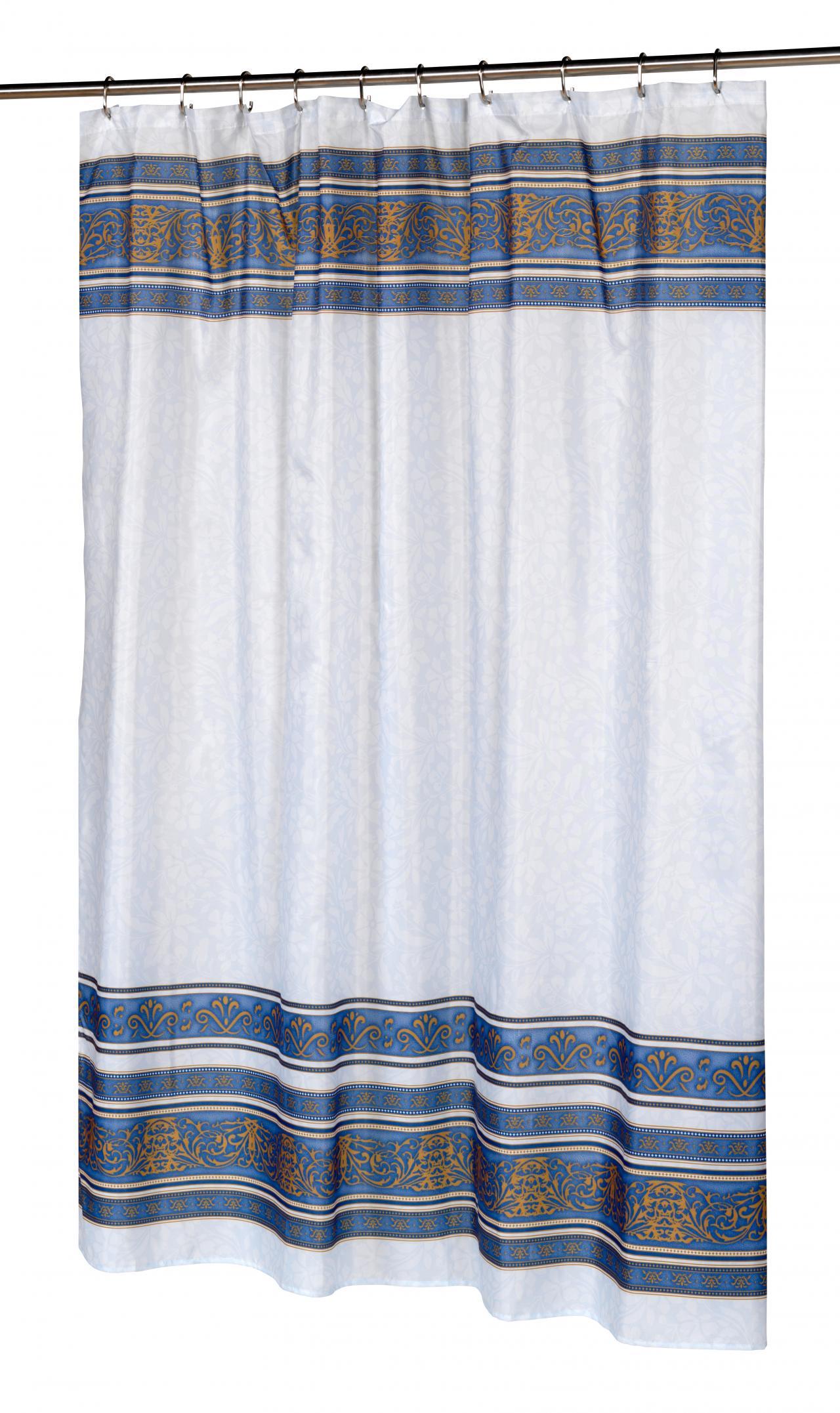 Fleur Slate Fabric Shower Curtain