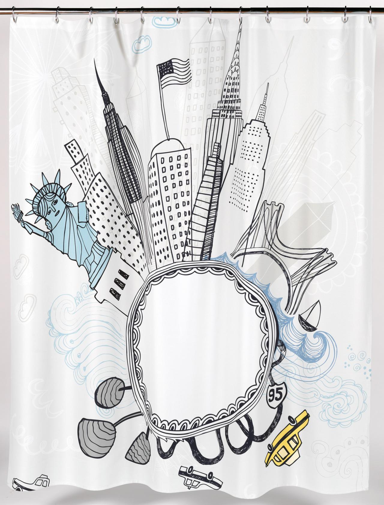 Fun Shower Curtain -  funky city fabric shower curtain