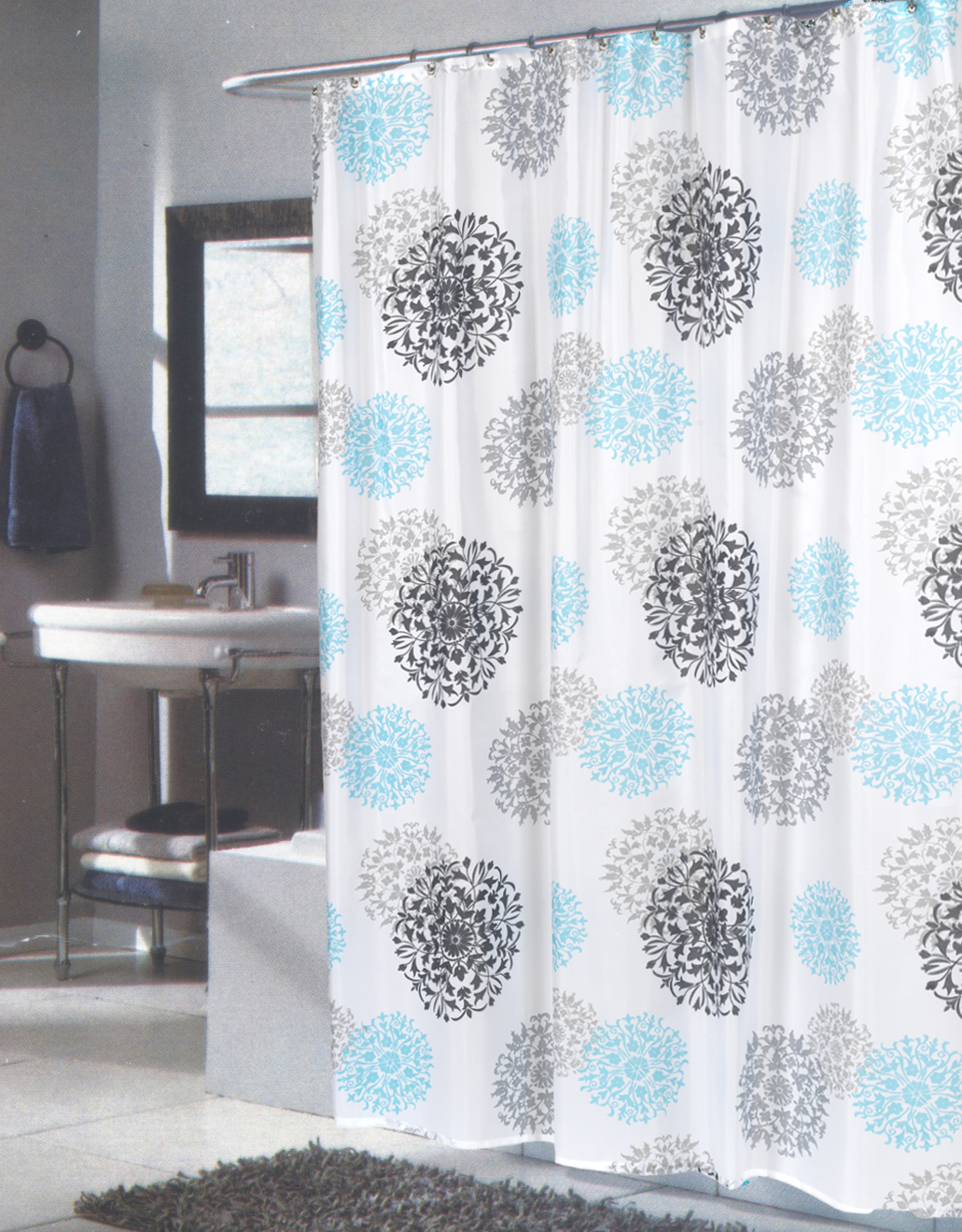 84 Inch Hookless Shower Curtain