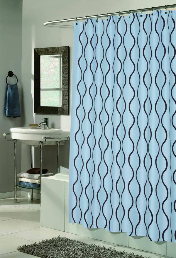 Flocked Shower Curtain Geneva Blue Brown