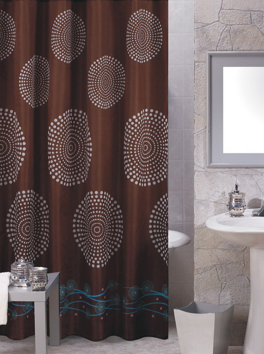 Hanover Brown Fabric Shower Curtain
