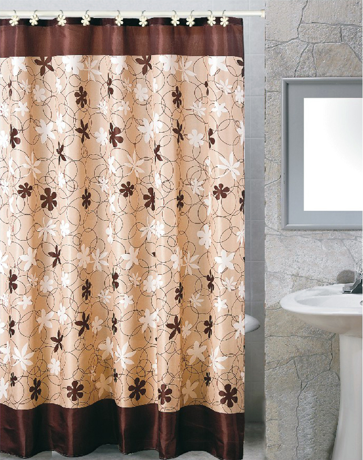 Karen Fabric Shower Curtain Size 70x72
