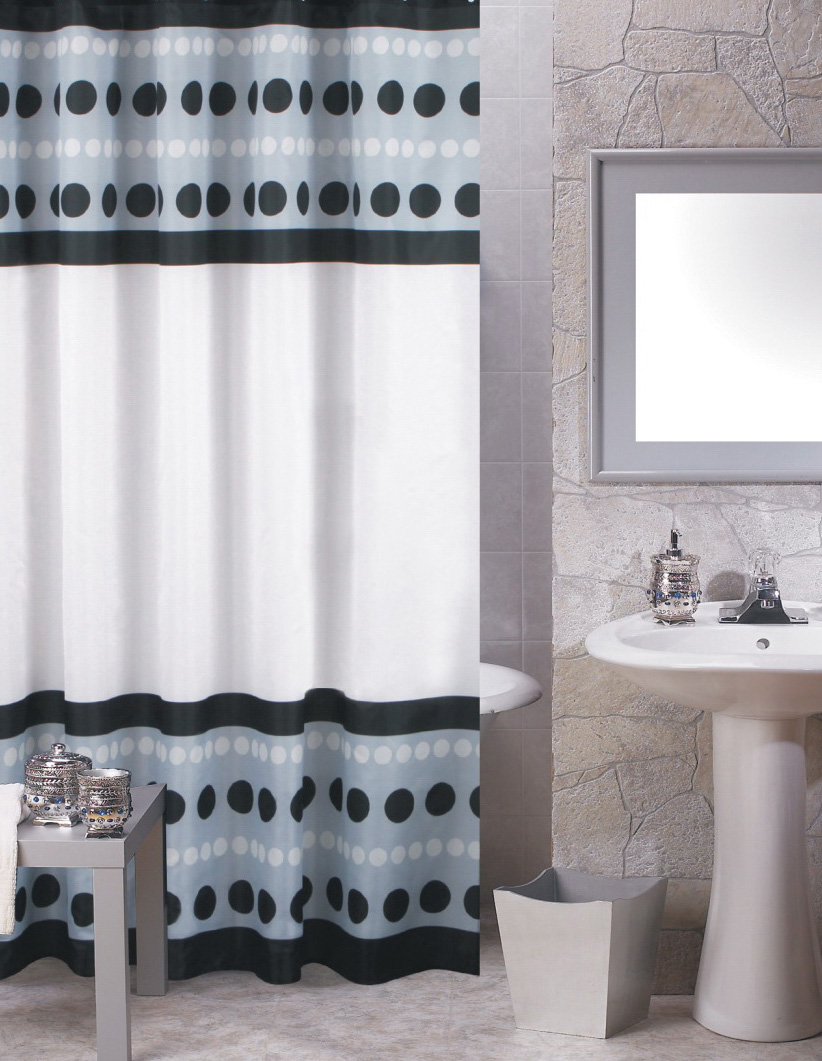 Black fabric shower curtains -  Metro Black Fabric Shower Curtain