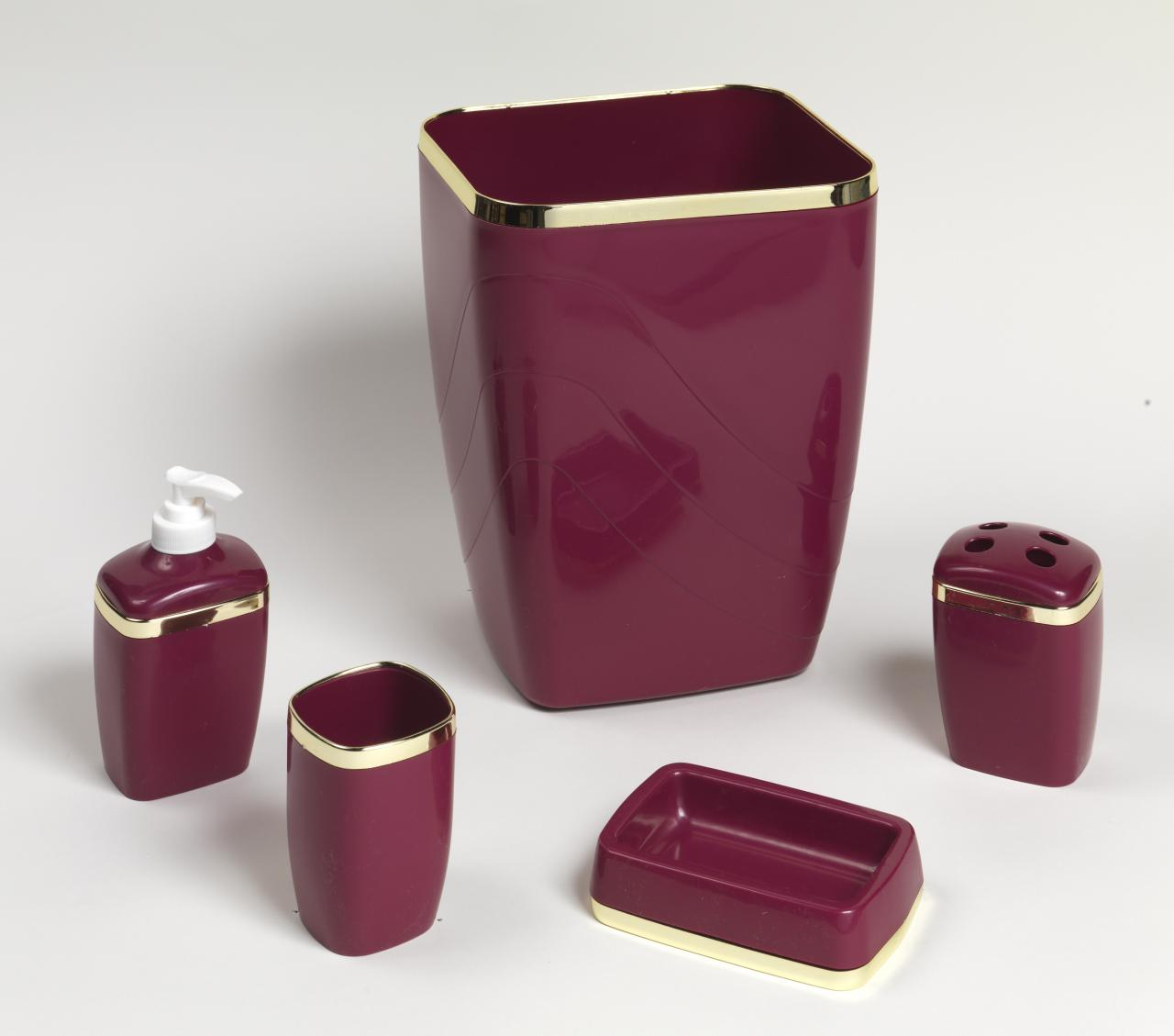 5 Piece Plastic Bath Accessory Set Burgundy