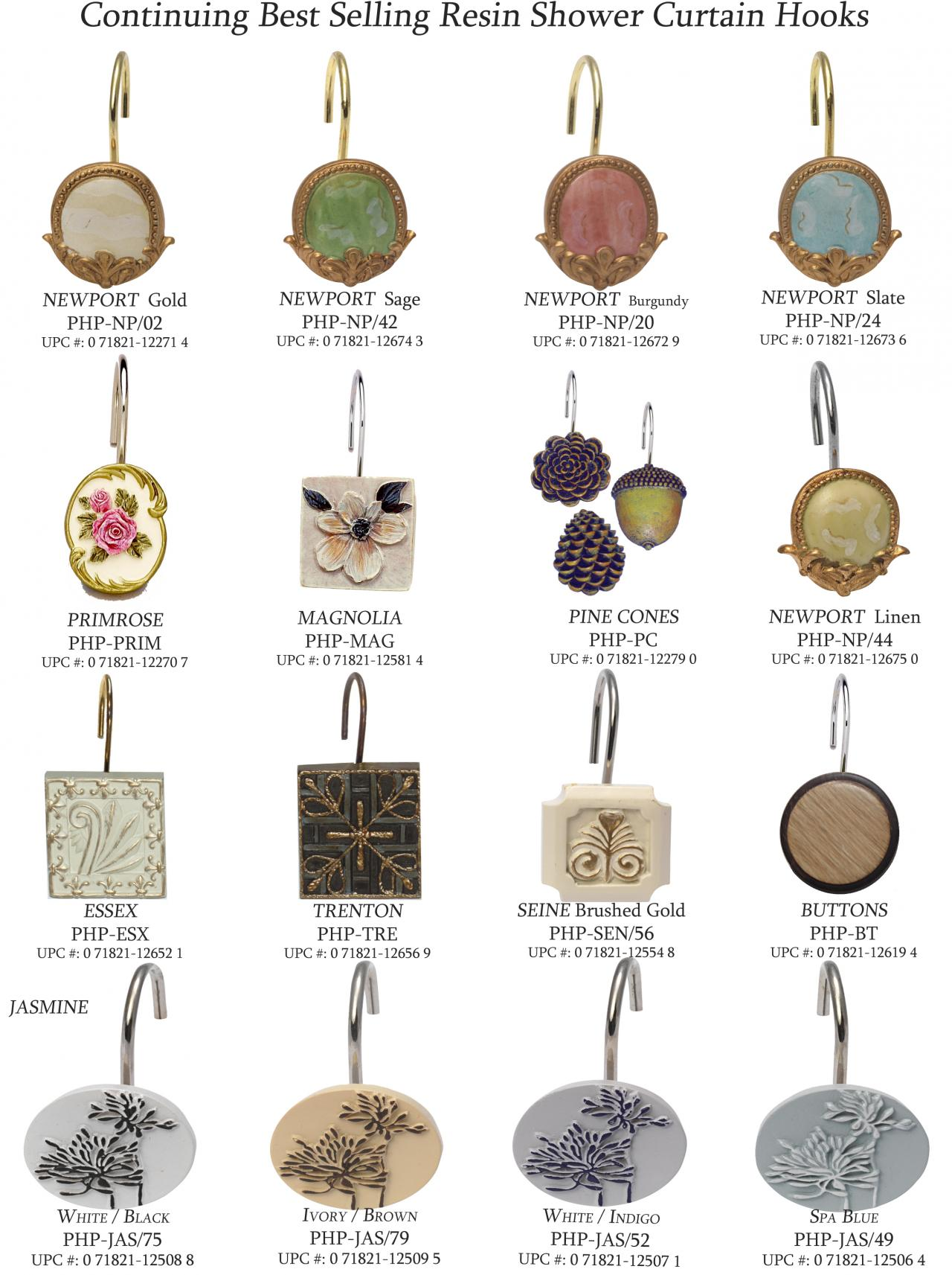 Carnation home fashions inc shower curtain hooks