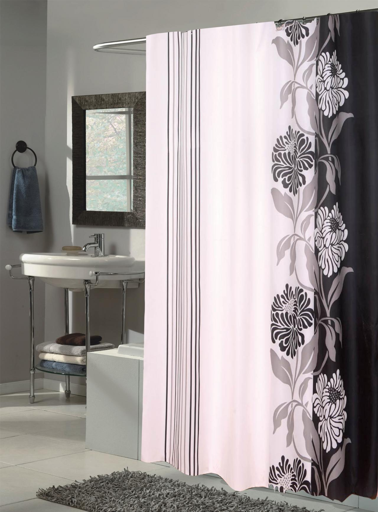 grey shower curtain liner.  Chelsea Black White Extra Long Fabric Shower Curtain Carnation Home Fashions Inc Curtains
