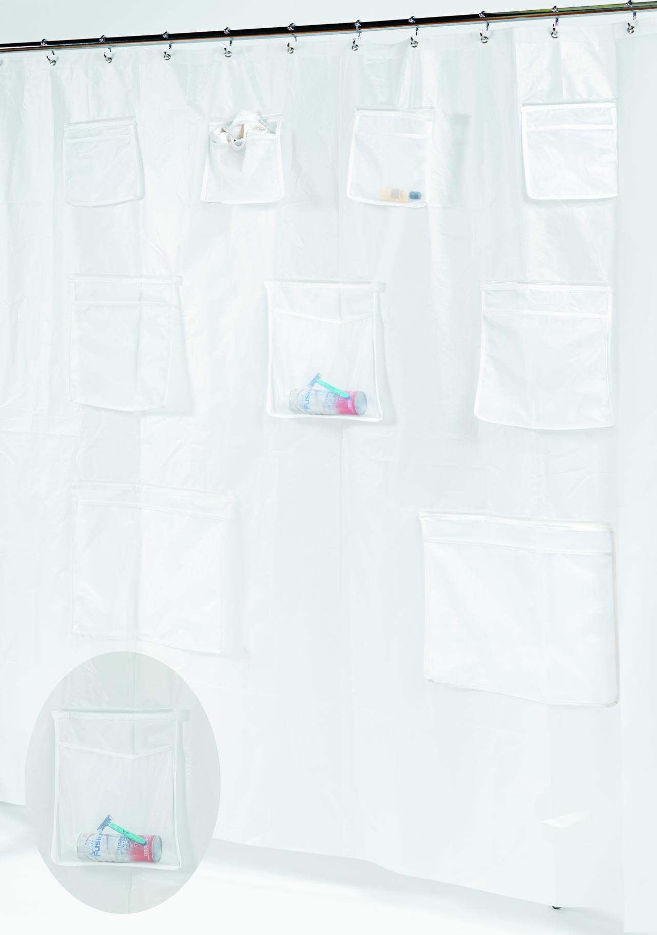 Pockets PEVA Shower Curtain With 9 Mesh Storage