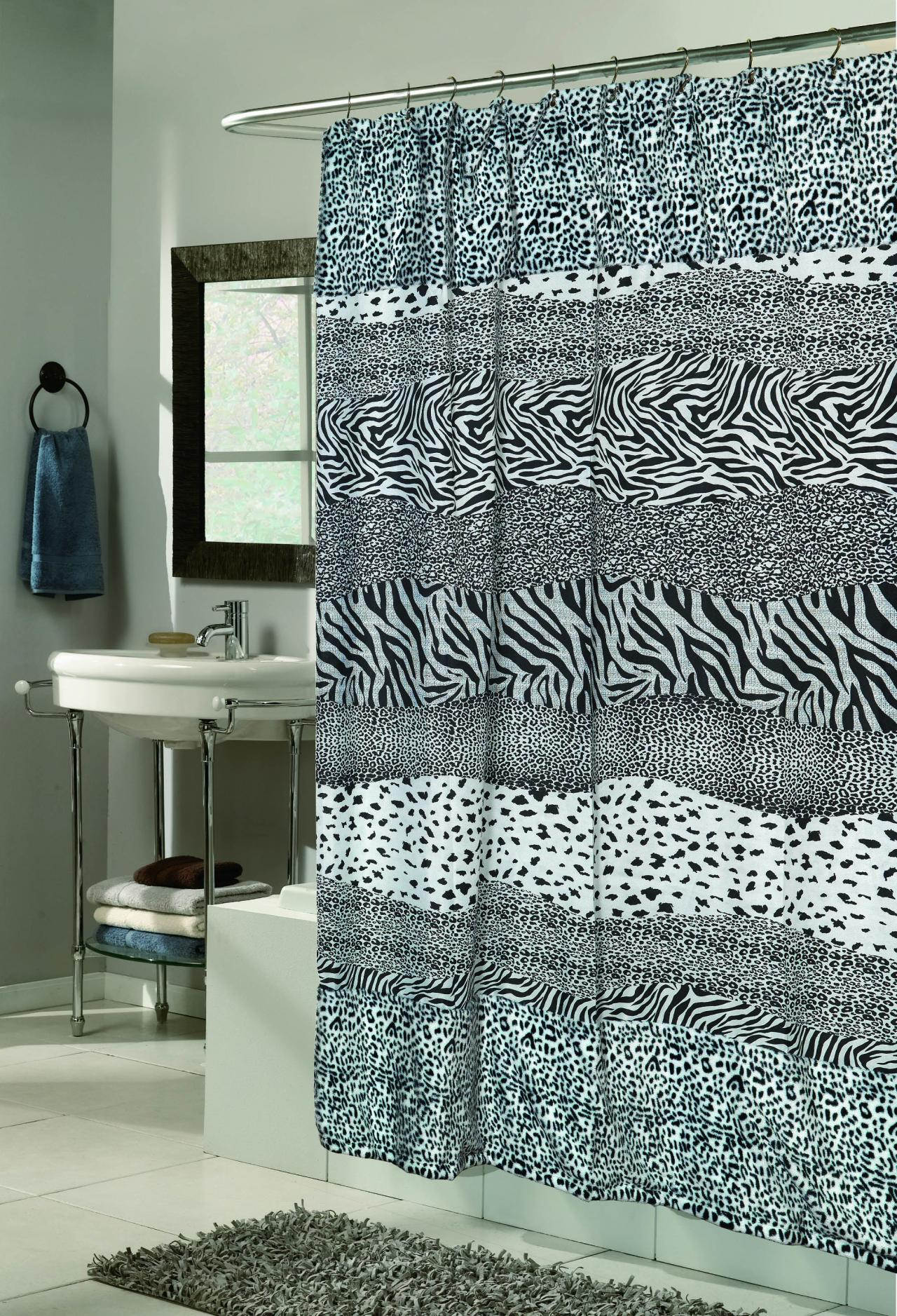 Leopard shower curtain -  Shower Curtain Animal Instincts Collection Snow Leopard
