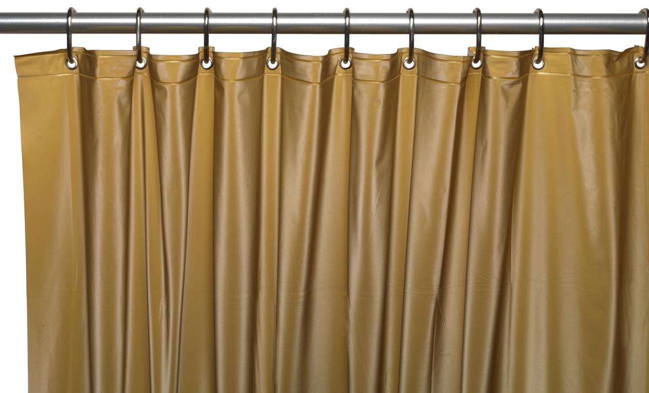 ... 3 Gauge Vinyl Shower Curtain Liner W/ Weighted Magnets And Metal  Grommets In Gold ...