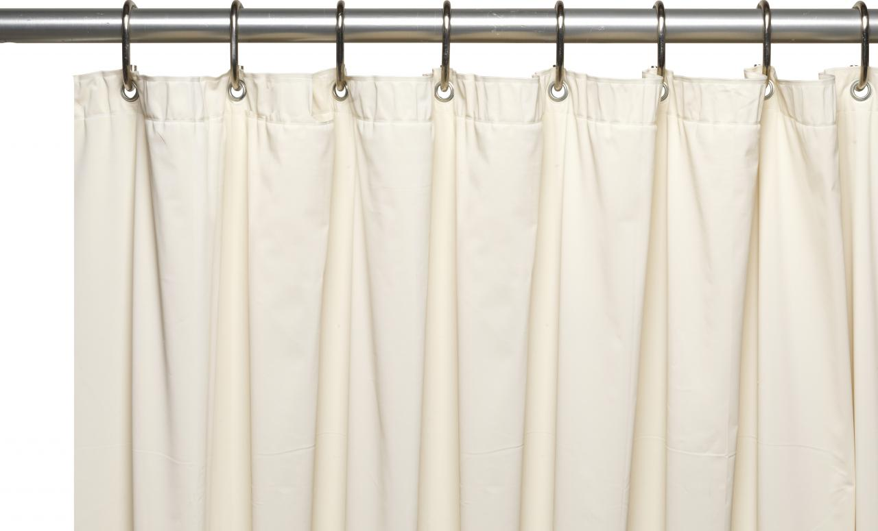 ... 3 Gauge Vinyl Shower Curtain Liner W/ Weighted Magnets And Metal  Grommets In Bone ...