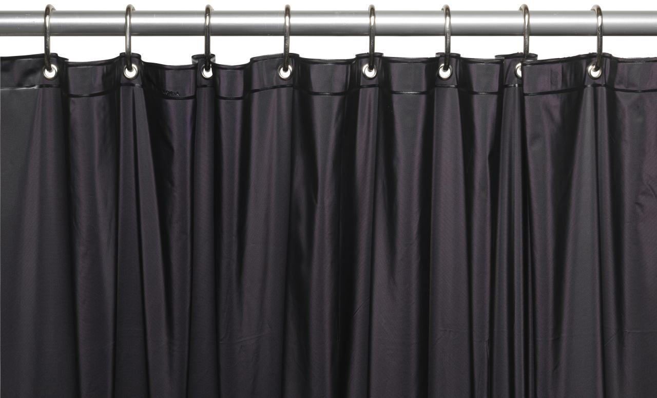 ... 3 Gauge Vinyl Shower Curtain Liner W/ Weighted Magnets And Metal  Grommets In Black ...