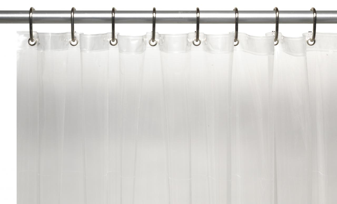 ... 3 Gauge Vinyl Shower Curtain Liner W/ Weighted Magnets And Metal  Grommets In Super Clear ...