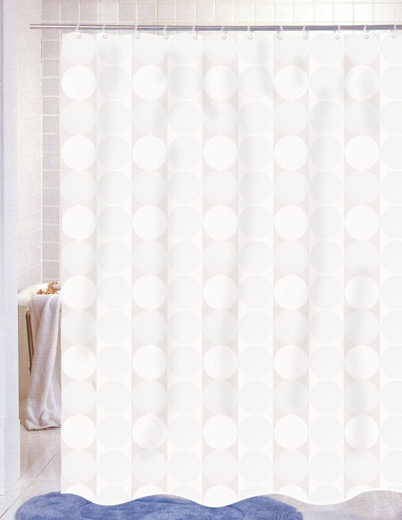 White fabric shower curtain - Jacquard Circles White Fabric Shower Curtain
