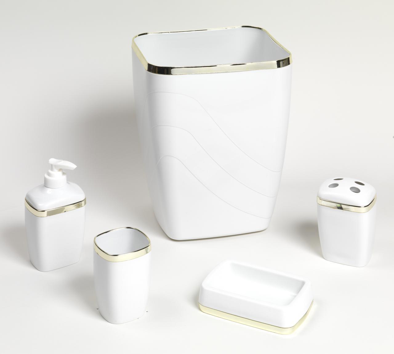5 Piece Plastic Bath Accessory Set White